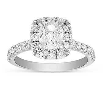 Henri Daussi 18K White Gold Cushion & Round Diamond Halo Ring, 2.02cttw