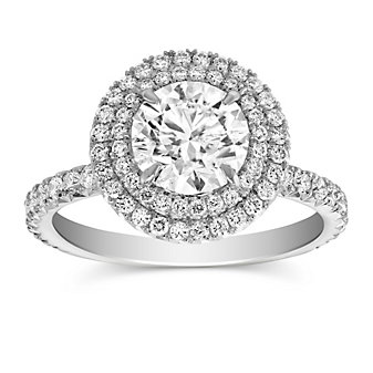 18K White Gold Double Halo Diamond Engagement Ring, 2.40cttw