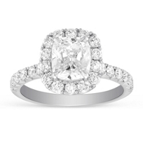 Henri_Daussi_18K_White_Gold_Cushion_&_Round_Diamond_Halo_Ring,_2.39cttw