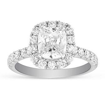 Henri Daussi 18K White Gold Cushion & Round Diamond Halo Ring, 2.39cttw