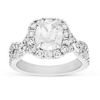 Henri Daussi 18K White Gold Cushion Diamond Halo Crossover Shank Engagement Ring