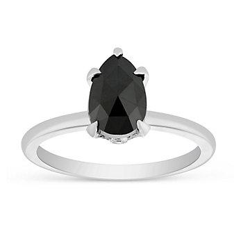 18K White Gold Black Pear Shaped Diamond Ring