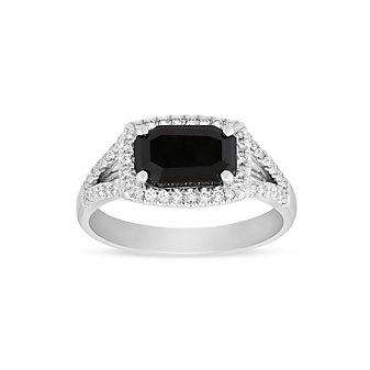14K White Gold Black Emerald Cut Diamond Ring with Diamond Halo and Split Shank