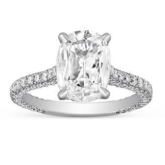 Platinum Cushion Diamond Engagement Ring, 2.92cttw