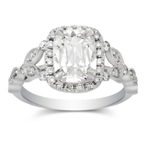 Henri_Daussi_18K_White_Gold_Cushion_and_Round_Diamond_Ring_With_Milgrain