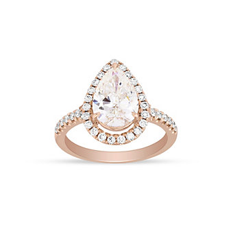14K Rose Gold Pear Shaped Diamond Engagement Ring with Diamond Halo & Shank