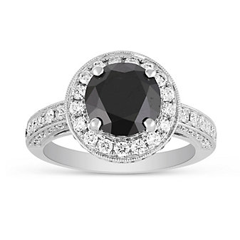18K White Gold Round Black Diamond Engagement Ring with Diamond Halo and Shank