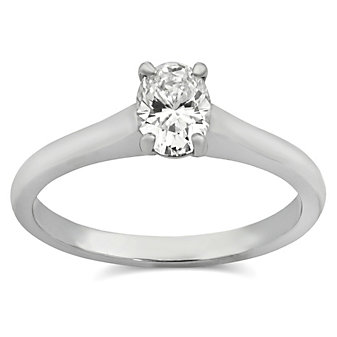 18K White Gold Oval Diamond Solitaire Ring, 0.56ct