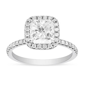 18K White Gold Borsheims Signature Diamond Engagement Ring with Diamond Halo & Shank, 2.36cttw