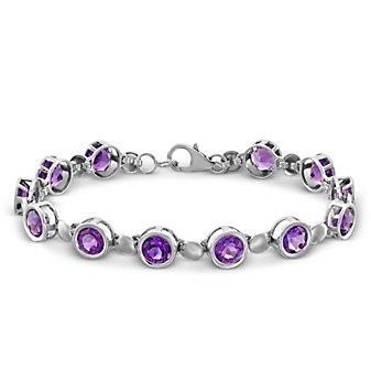 "Sterling Silver Amethyst Bracelet, 7.5"""