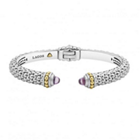 lagos_sterling_silver_&_18k_yellow_gold_caviar_color_amethyst_thin_hinge_cuff_bracelet