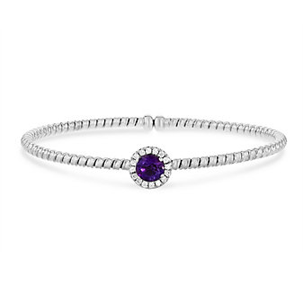 18k white gold diamond halo and amethyst flexible cuff bracelet