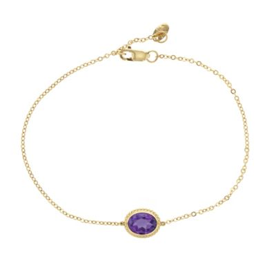 "14k yellow gold oval amethyst rope bezel set bracelet, 7.5"""