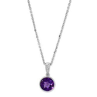 14K White Gold Round Checkerboard Bezel Set Amethyst Pendant, 7mm