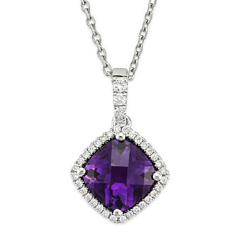 14K White Gold Cushion Checkerboard Amethyst and Round Diamond Pendant
