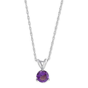 14K White Gold Round Faceted Amethyst Pendant, 6mm