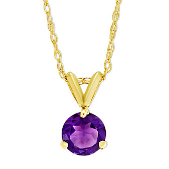 14K Yellow Gold Round Faceted Amethyst Pendant, 6mm