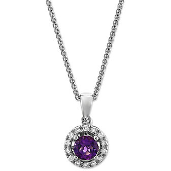 14K White Gold Amethyst and Diamond Halo Pendant