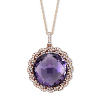 14K_Rose_Gold_Checkerboard_Round_Amethyst_and_Round_Diamond_Pendant