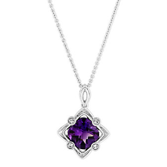 14K White Gold Cushion Amethyst and Round Diamond Filigree Pendant