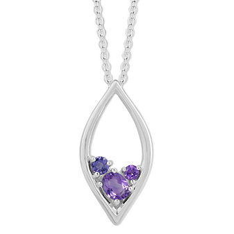 Sterling Silver Amethyst and Iolite Marquise Shaped Pendant