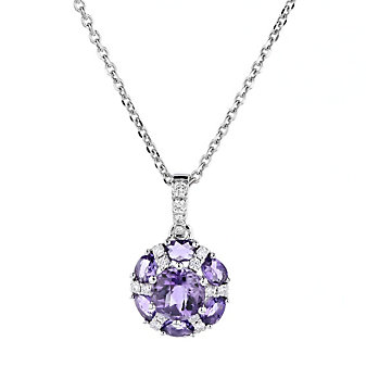 14k white gold checkerboard round amethyst and diamond flower pendant
