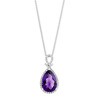 14K White Gold Checkerboard Pear Shaped Amethyst & Diamond Pendant