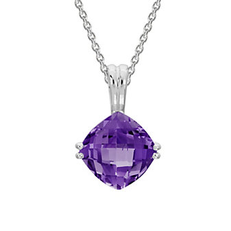 14K White Gold Checkerboard Cushion Amethyst Pendant, 18""