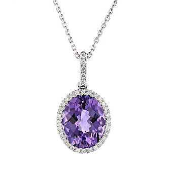 14k white gold oval checkerboard amethyst pendant with diamond halo, 18""