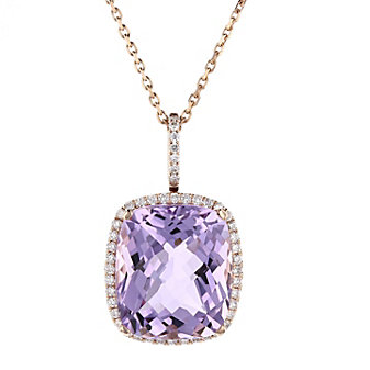 14k rose gold cushion checkerboard amethyst pendant with diamond frame, 18""