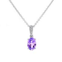 """14k_white_gold_oval_amethyst_&_diamond_milgrain_pendant,_18"""""""
