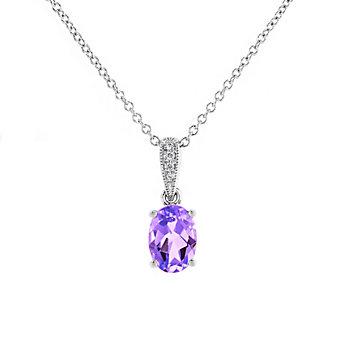 """14k white gold oval amethyst & diamond milgrain pendant, 18"""""""