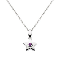 "sterling_silver_round_amethyst_bezel_set_star_pendant,_18"""