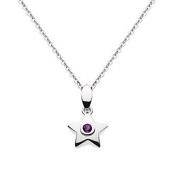 "sterling silver round amethyst bezel set star pendant, 18"""