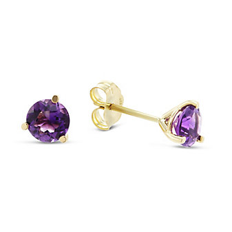 14K Yellow Gold Round Faceted Amethyst Stud Earrings, 5mm