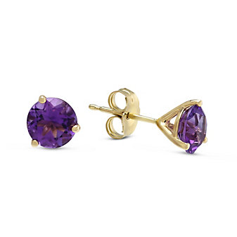 14K Yellow Gold Round Faceted Amethyst Stud Earrings, 6mm