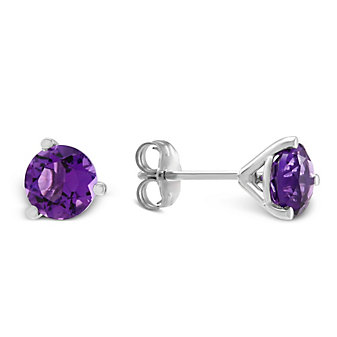 14K White Gold Round Faceted Amethyst Stud Earrings, 6mm