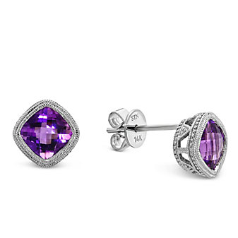 14K White Gold Cushion Checkerboard Bezel Set Amethyst Earrings, 6mm