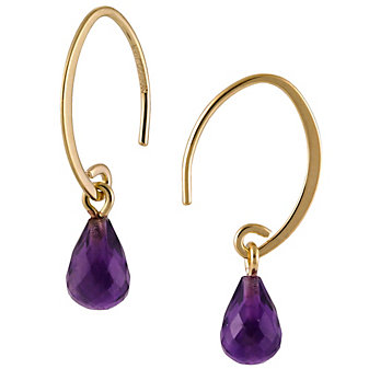 14K Yellow Gold Amethyst Briolette Drop Earrings