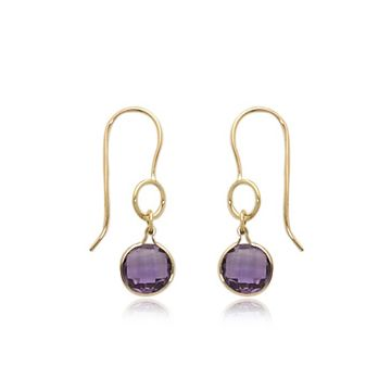 14k yellow gold faceted round amethyst drop earrings