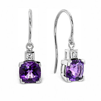14K White Gold Checkerboard Cushion Amethyst and Round Diamond Drop Earrings
