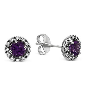 14K White Gold Round Amethyst and Round Diamond Halo Earrings