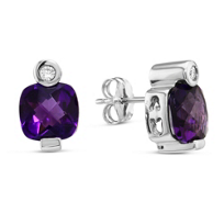 14K_White_Gold_Cushion_Checkerboard_Amethyst_and_Round_Diamond_Earrings