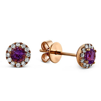 14K Rose Gold Amethyst and Round Diamond Halo Earrings