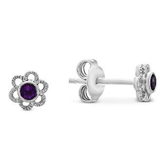 Sterling Silver Children's Amethyst Flower Earrings