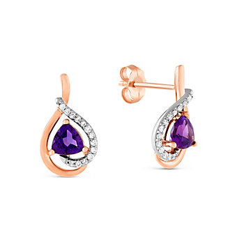 14K Rose & White Gold Amethyst and Diamond Earrings