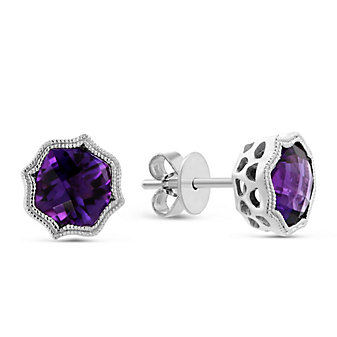 14k White Gold Cushion Checkerboard Amethyst Earrings with Double Milgrain