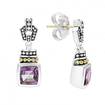 lagos sterling silver & 18k yellow gold caviar color amethyst drop earrings