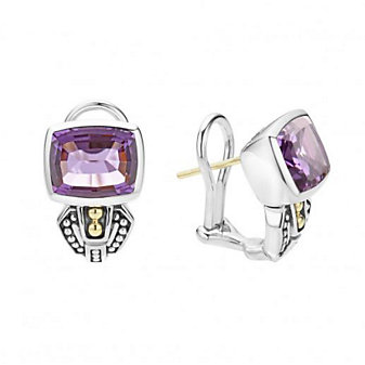 lagos sterling silver & 18k yellow gold caviar color amethyst earrings