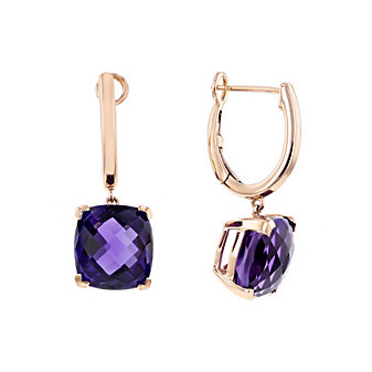 14k rose gold cushion checkerboard amethyst dangle earrings